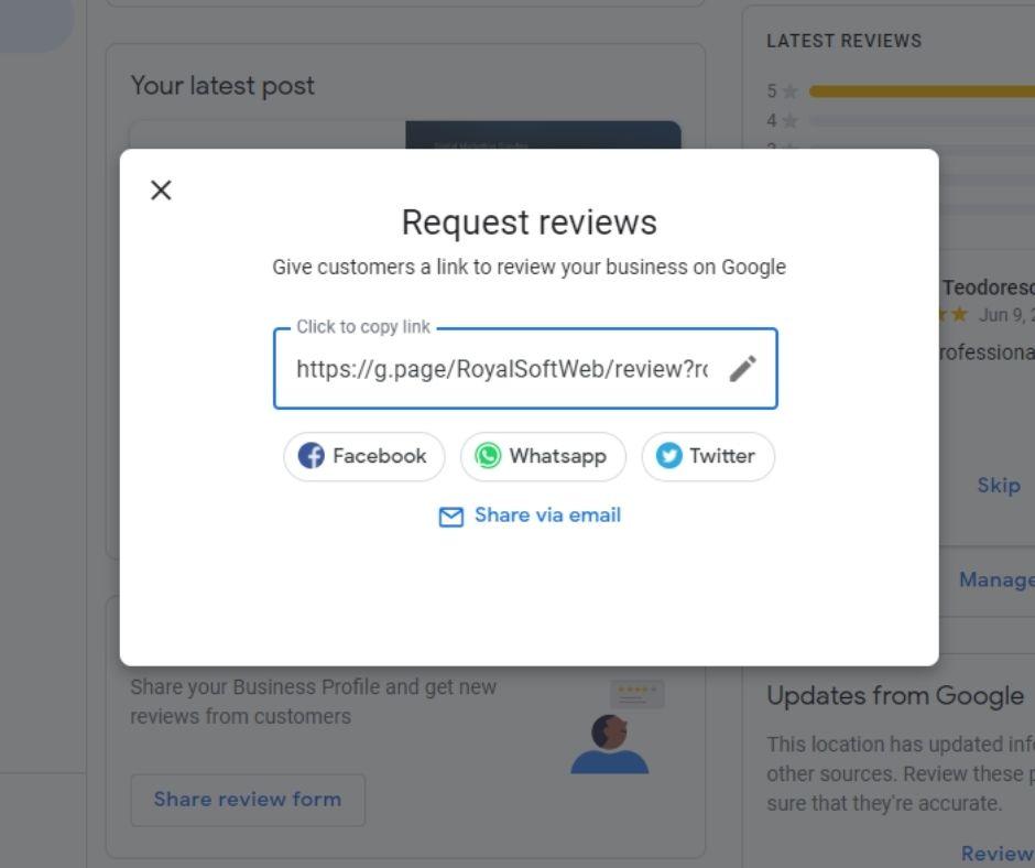 genereaza URL pentru review-uri clienti